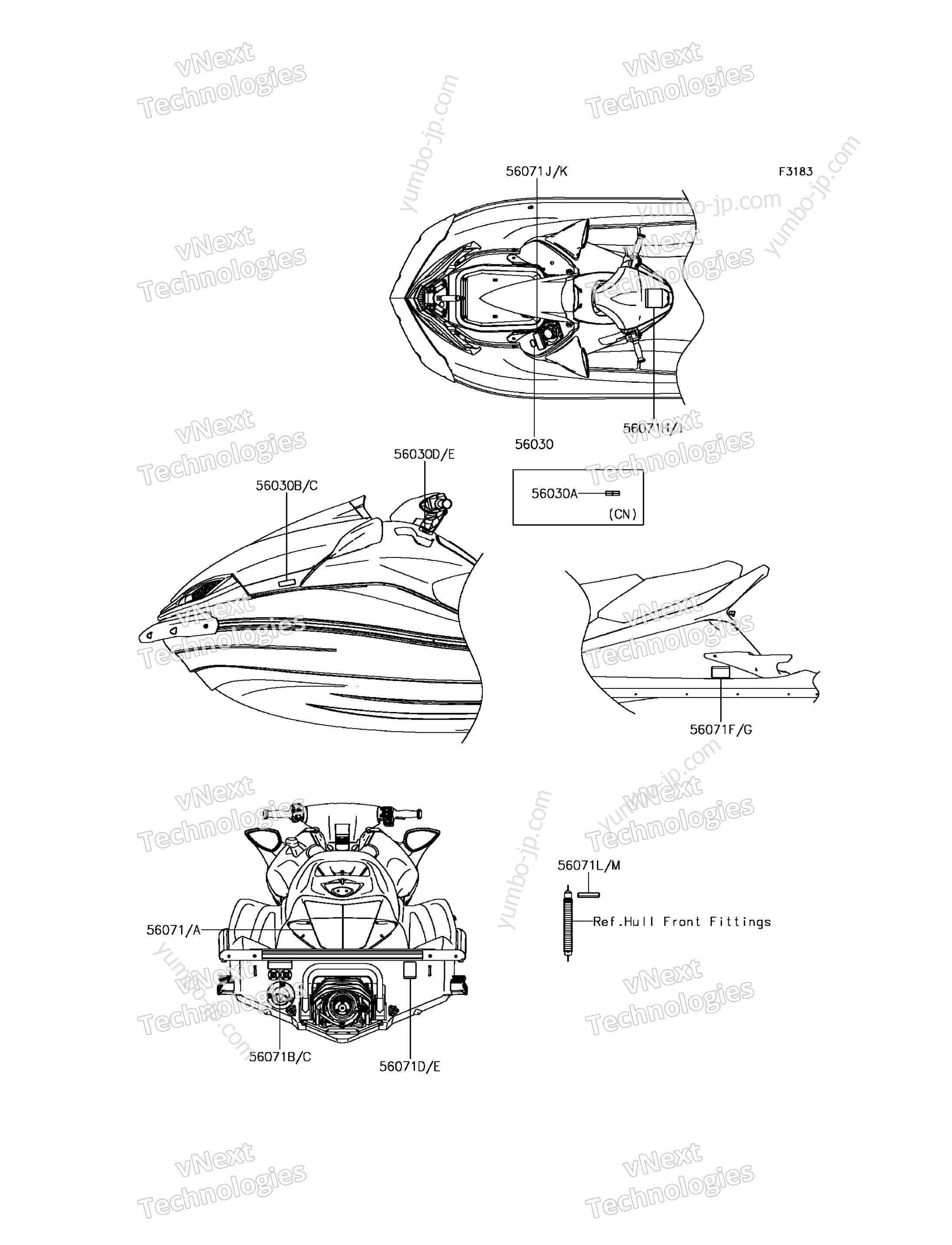 Эмблемы, наклейки для гидроциклов KAWASAKI JET SKI ULTRA 310X (JT1500PGF) 2016 г.