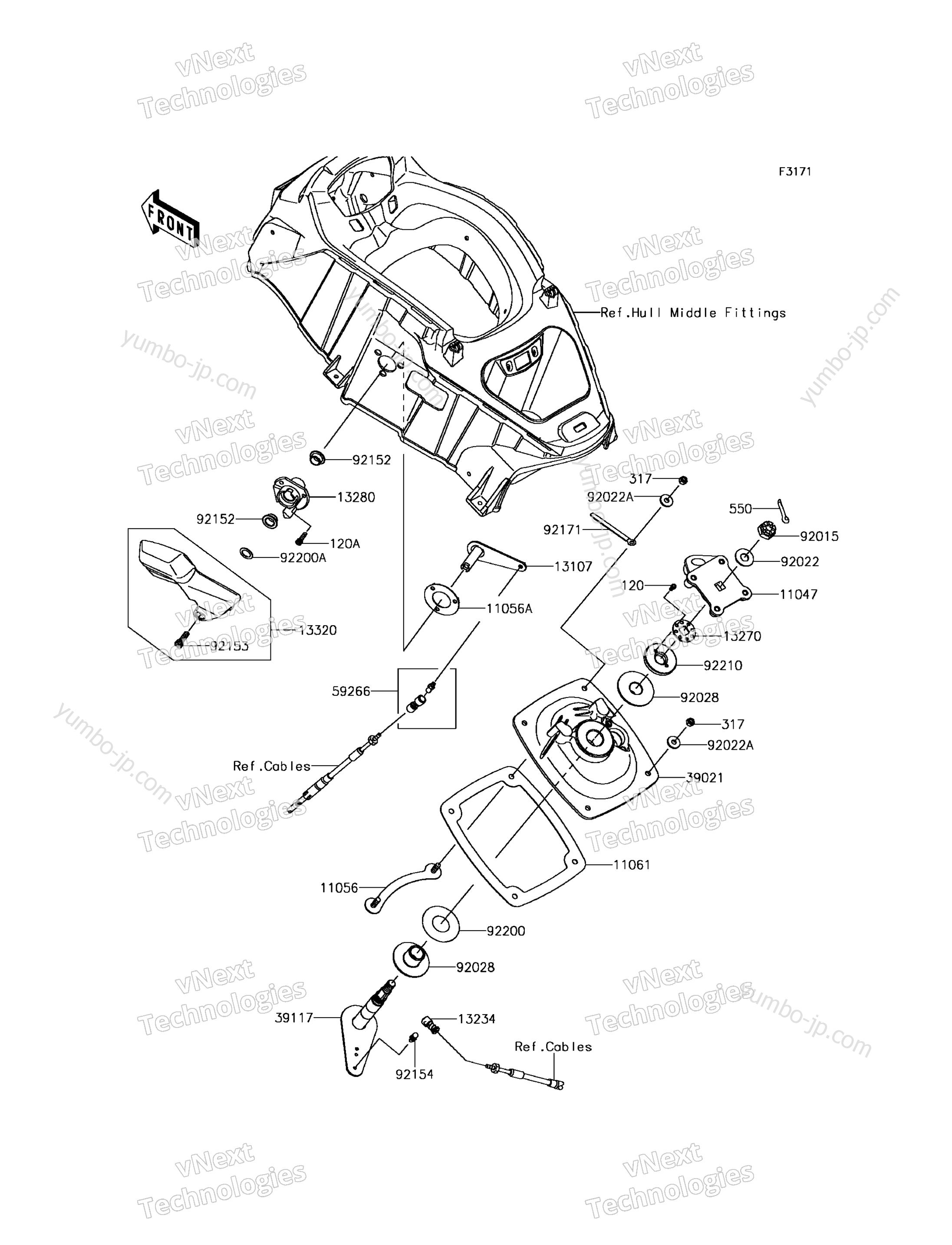 Handle Pole для гидроцикла KAWASAKI JET SKI ULTRA 310R (JT1500NGF) 2016 г.