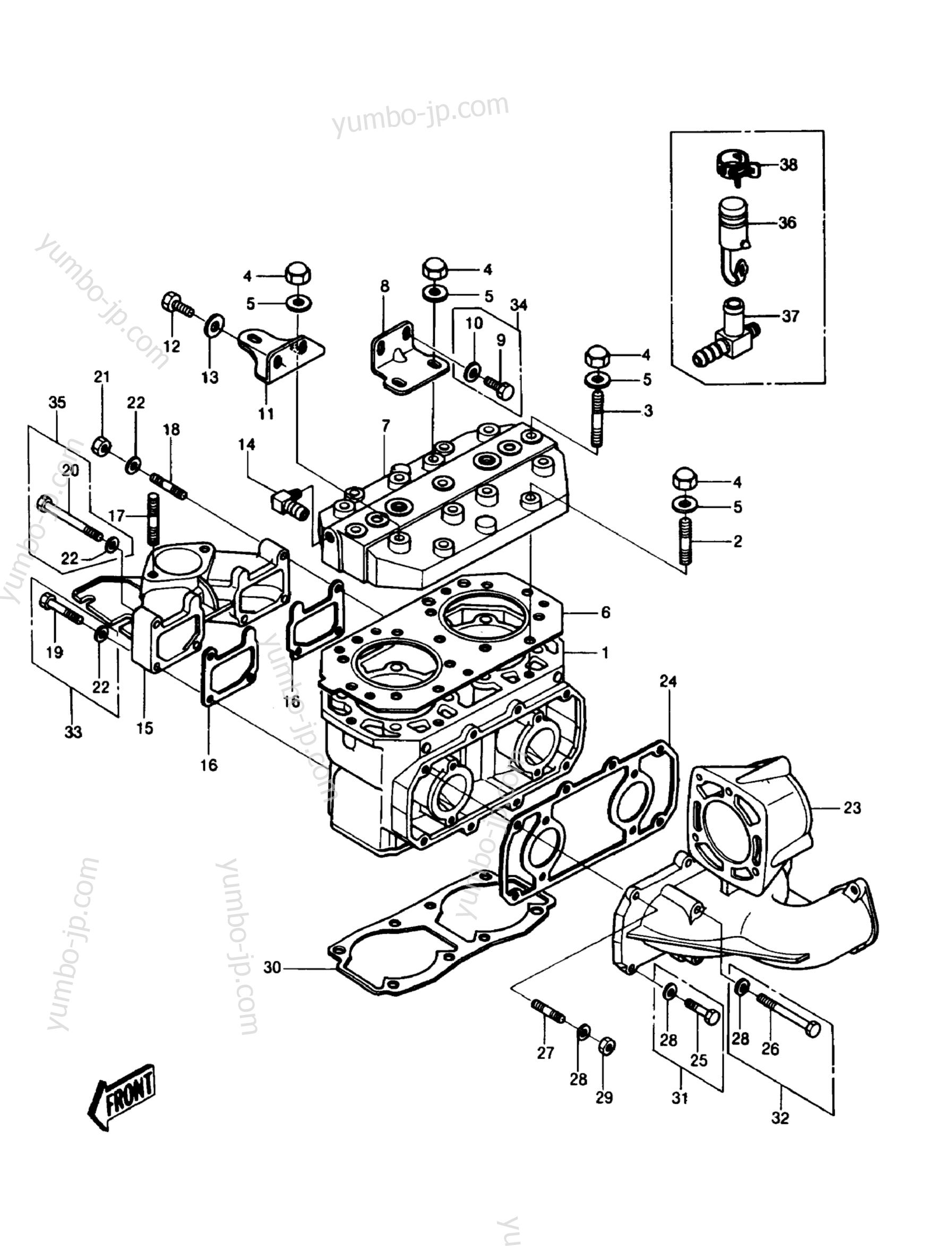 CYLINDER HEAD/CYLINDER для гидроциклов KAWASAKI JST SKI 550 (JS550-A6) 1987 г.