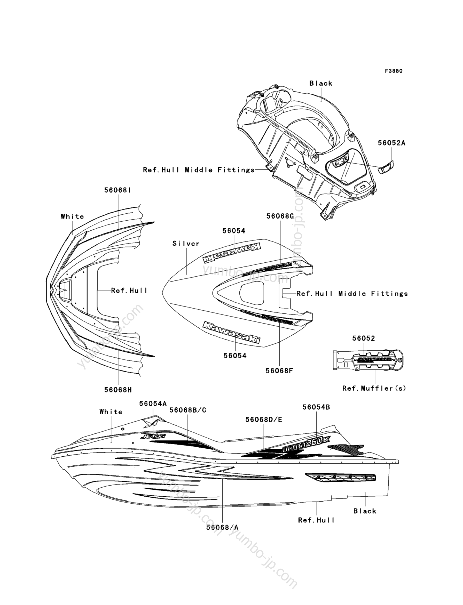 Decals(White)(F9F) для гидроциклов KAWASAKI JET SKI ULTRA 260LX (JT1500F9F) 2009 г.