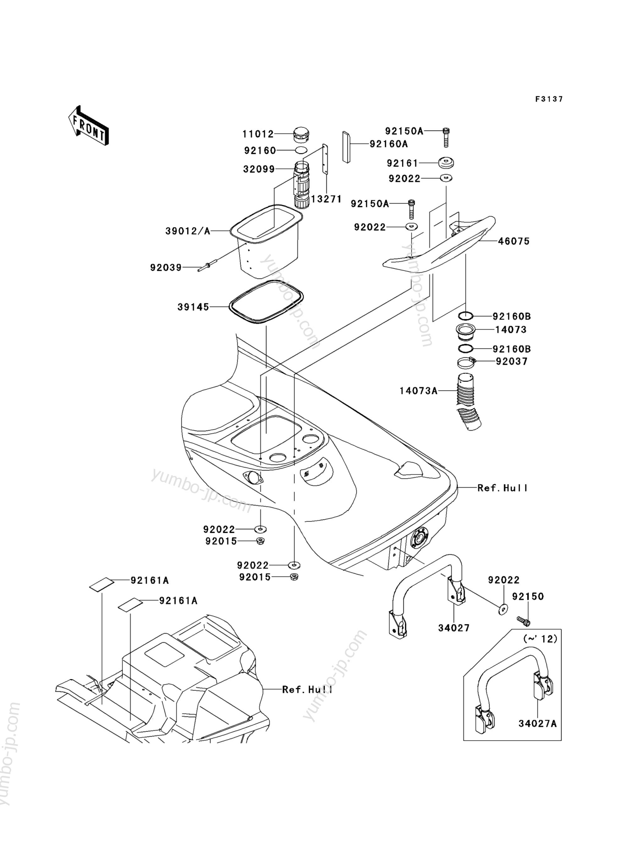Hull Rear Fittings для гидроцикла KAWASAKI JET SKI STX-15F (JT1500ADF) 2013 г.