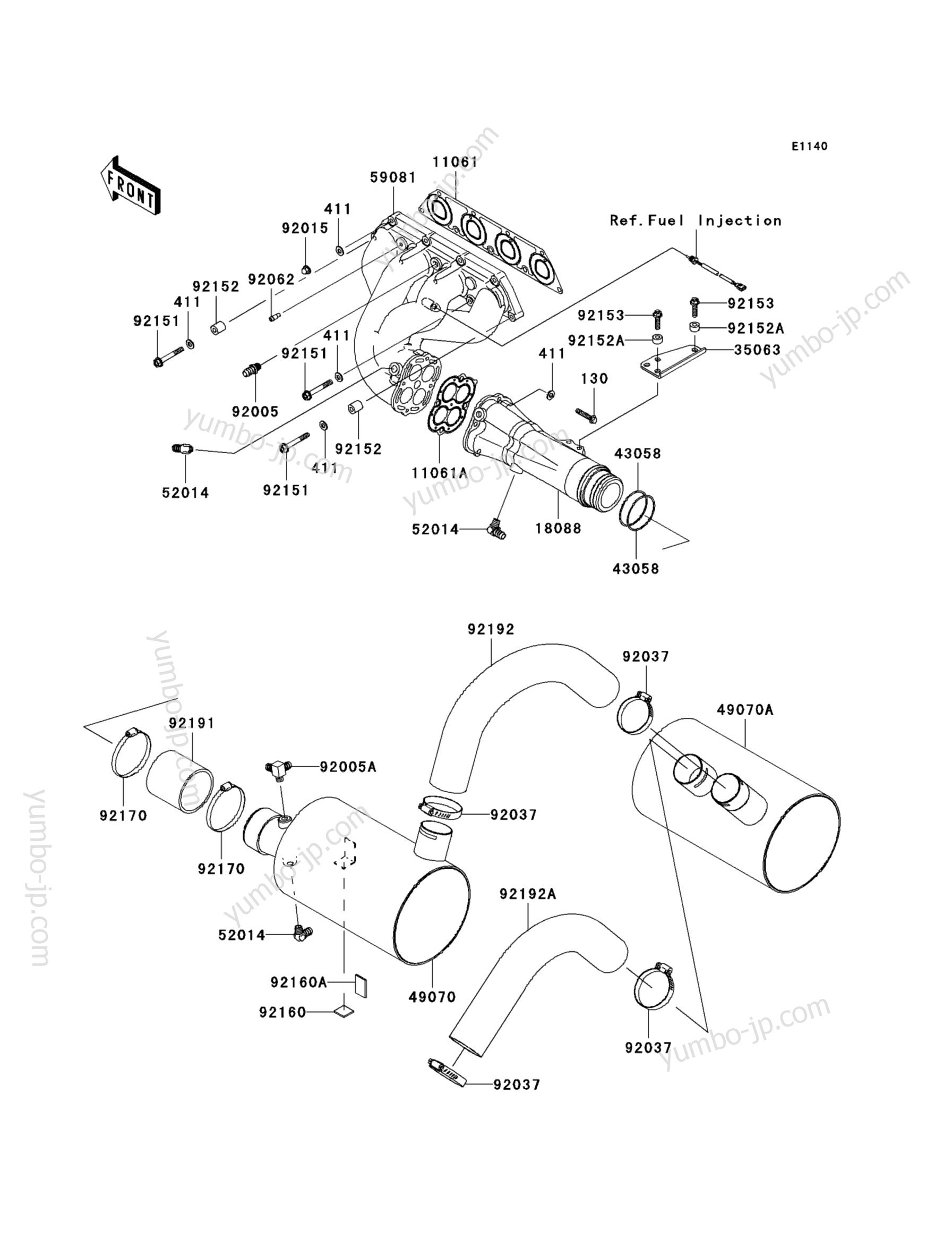 Muffler(s) для гидроциклов KAWASAKI JET SKI ULTRA LX (JT1500C8F) 2008 г.