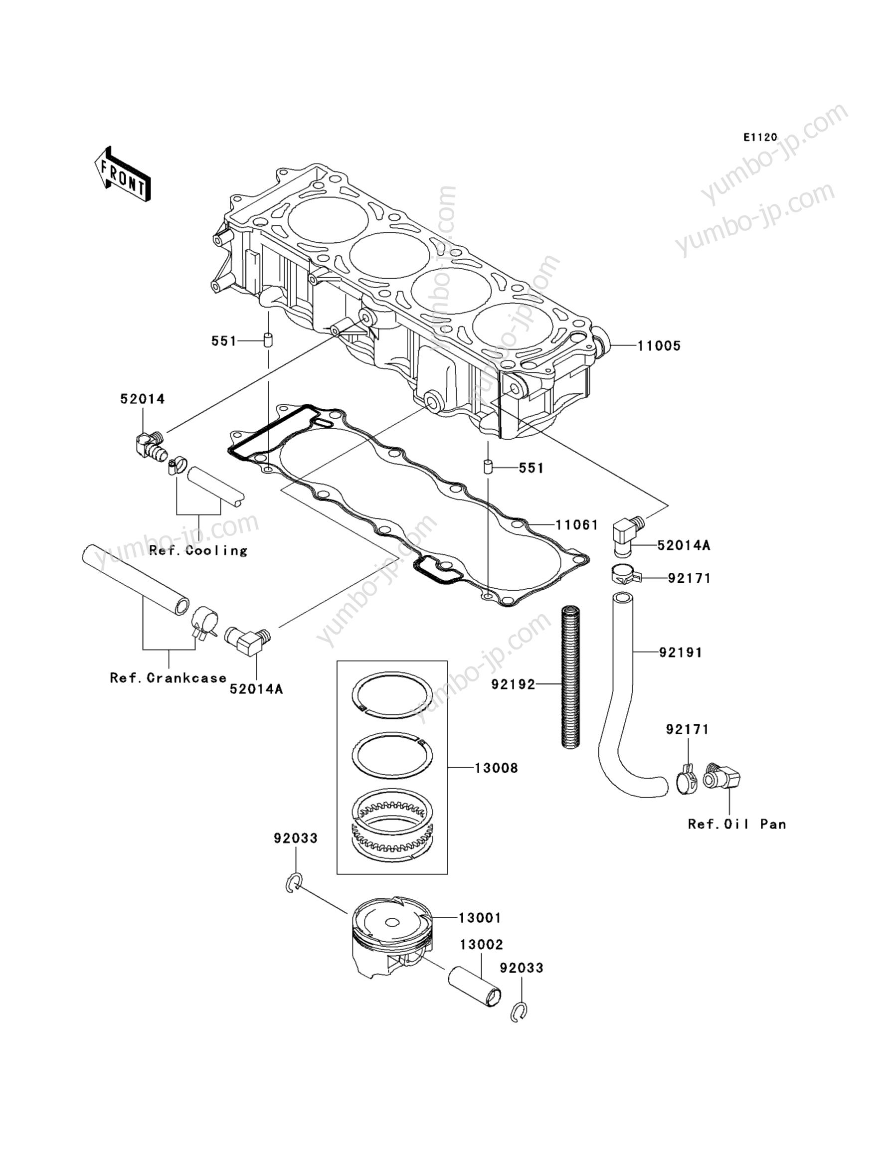 Cylinder/Piston(s) для гидроциклов KAWASAKI JET SKI STX-15F (JT1500-A2) 2005 г.