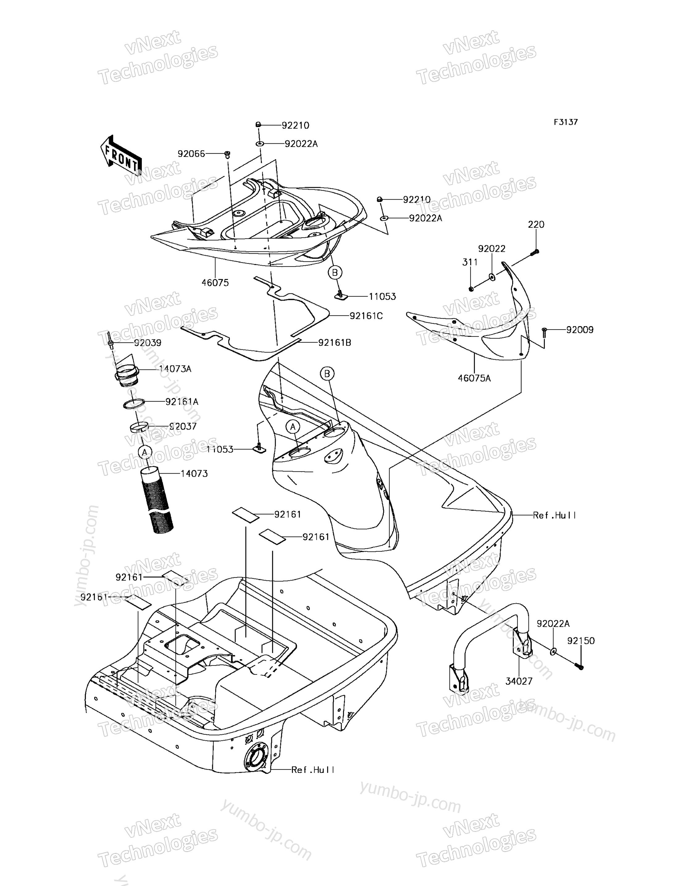 Hull Rear Fittings для гидроцикла KAWASAKI JET SKI ULTRA 310X (JT1500PGF) 2016 г.