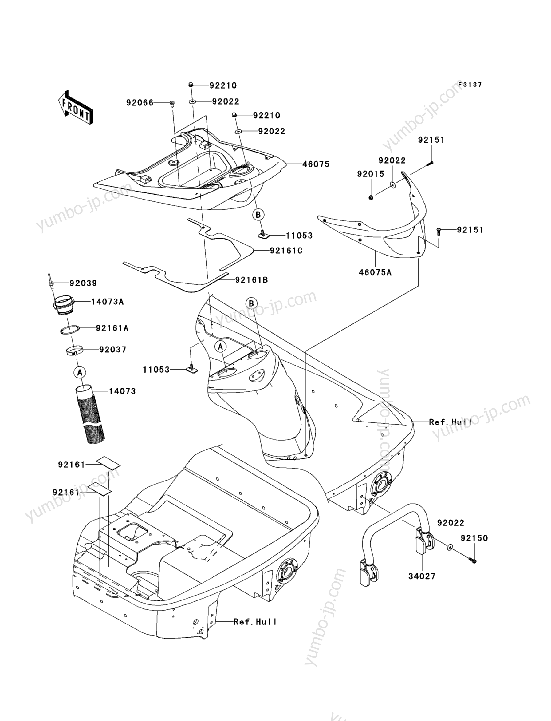 Hull Rear Fittings для гидроциклов KAWASAKI JET SKI ULTRA 260LX (JT1500F9F) 2009 г.
