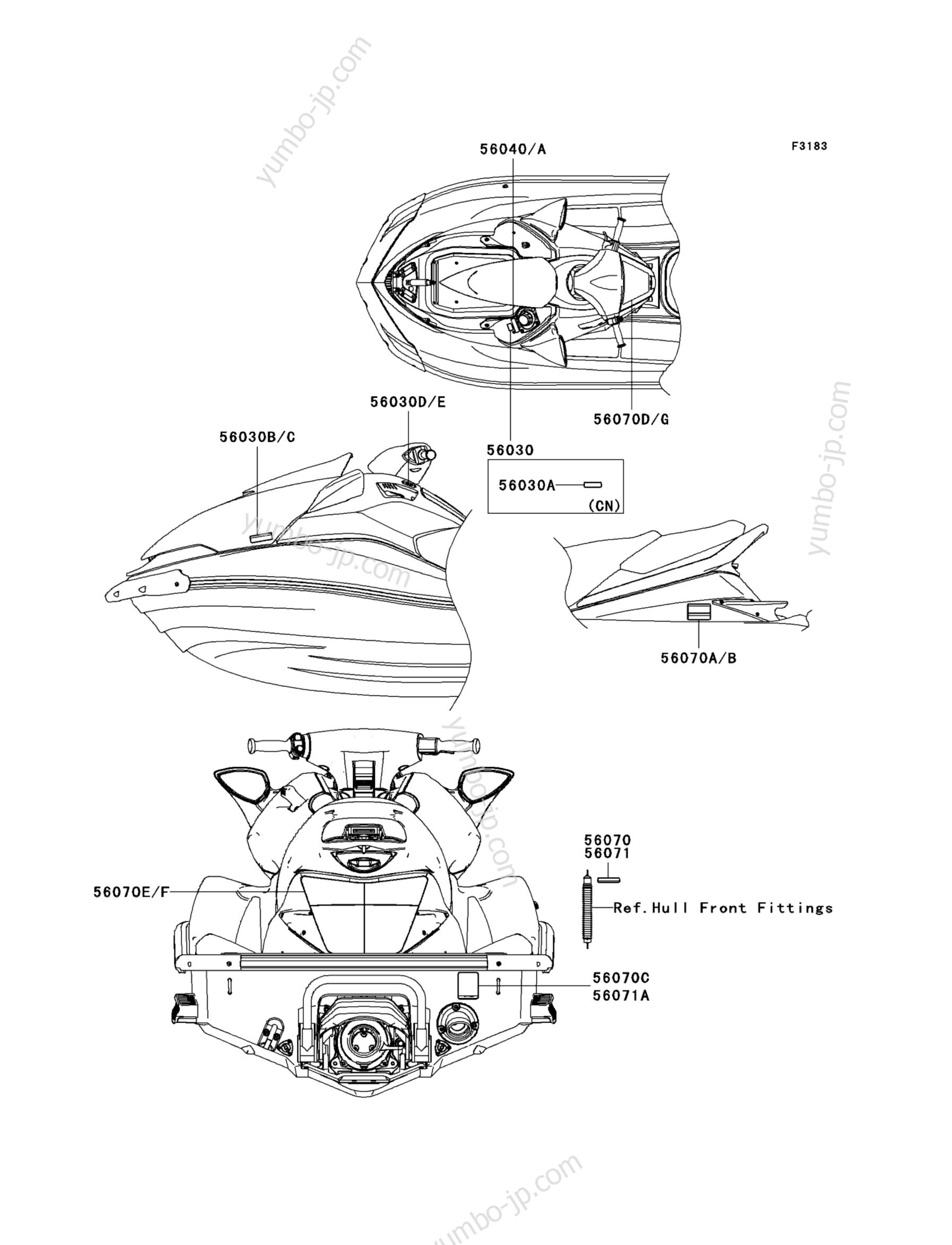 Эмблемы, наклейки для гидроциклов KAWASAKI JET SKI ULTRA 260LX (JT1500F9F) 2009 г.