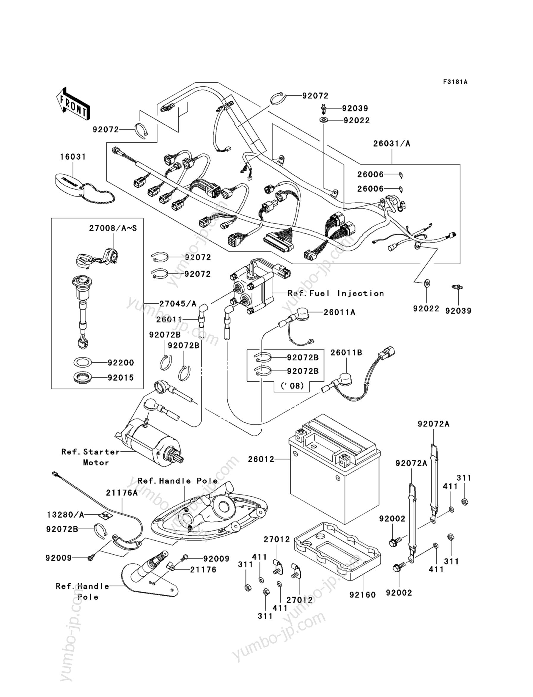 Electrical Equipment (A8F∼AAF) для гидроциклов KAWASAKI JET SKI STX-15F (JT1500AAF) 2010 г.
