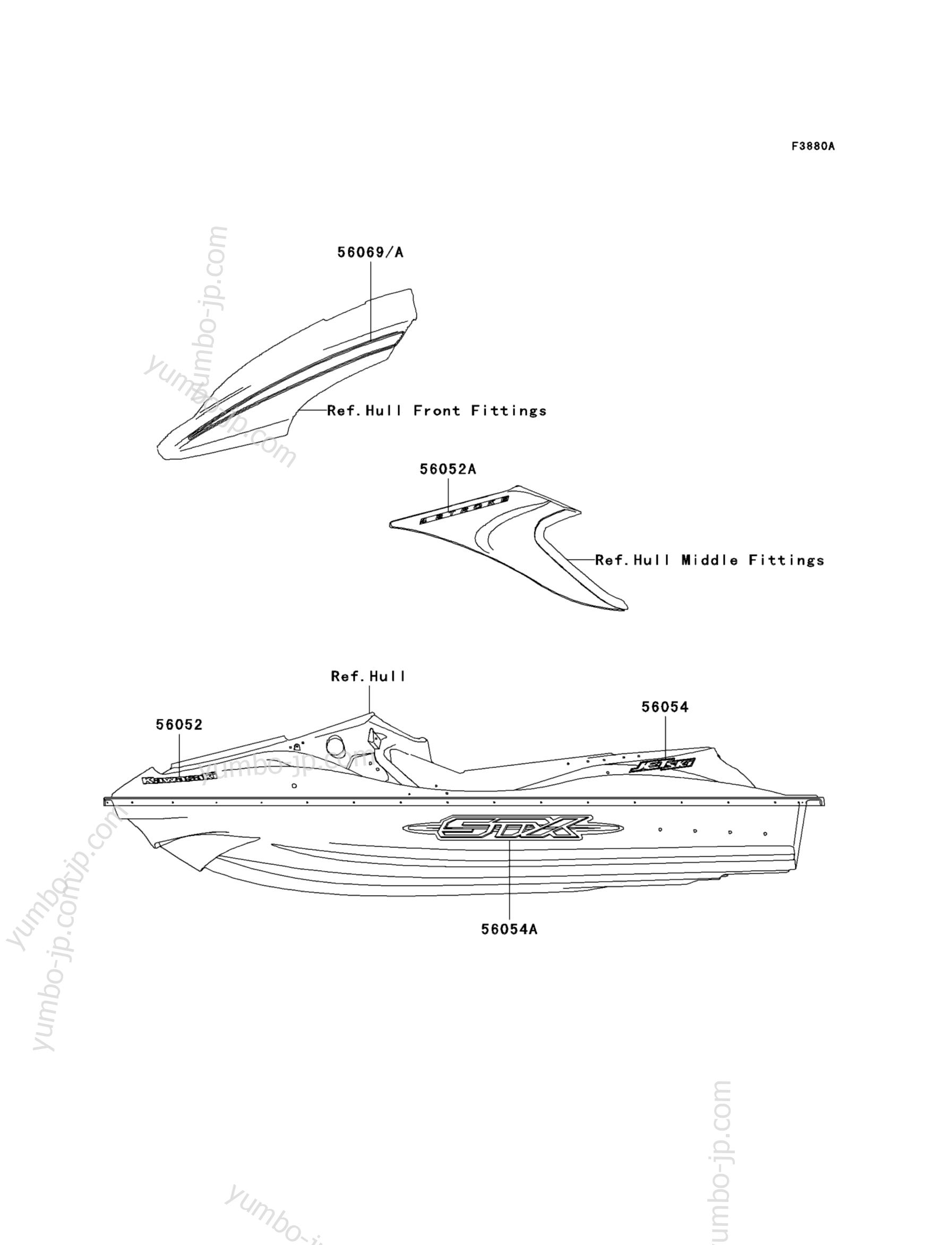 Decals(DAF) для гидроцикла KAWASAKI JET SKI STX (JT1500DAF) 2010 г.