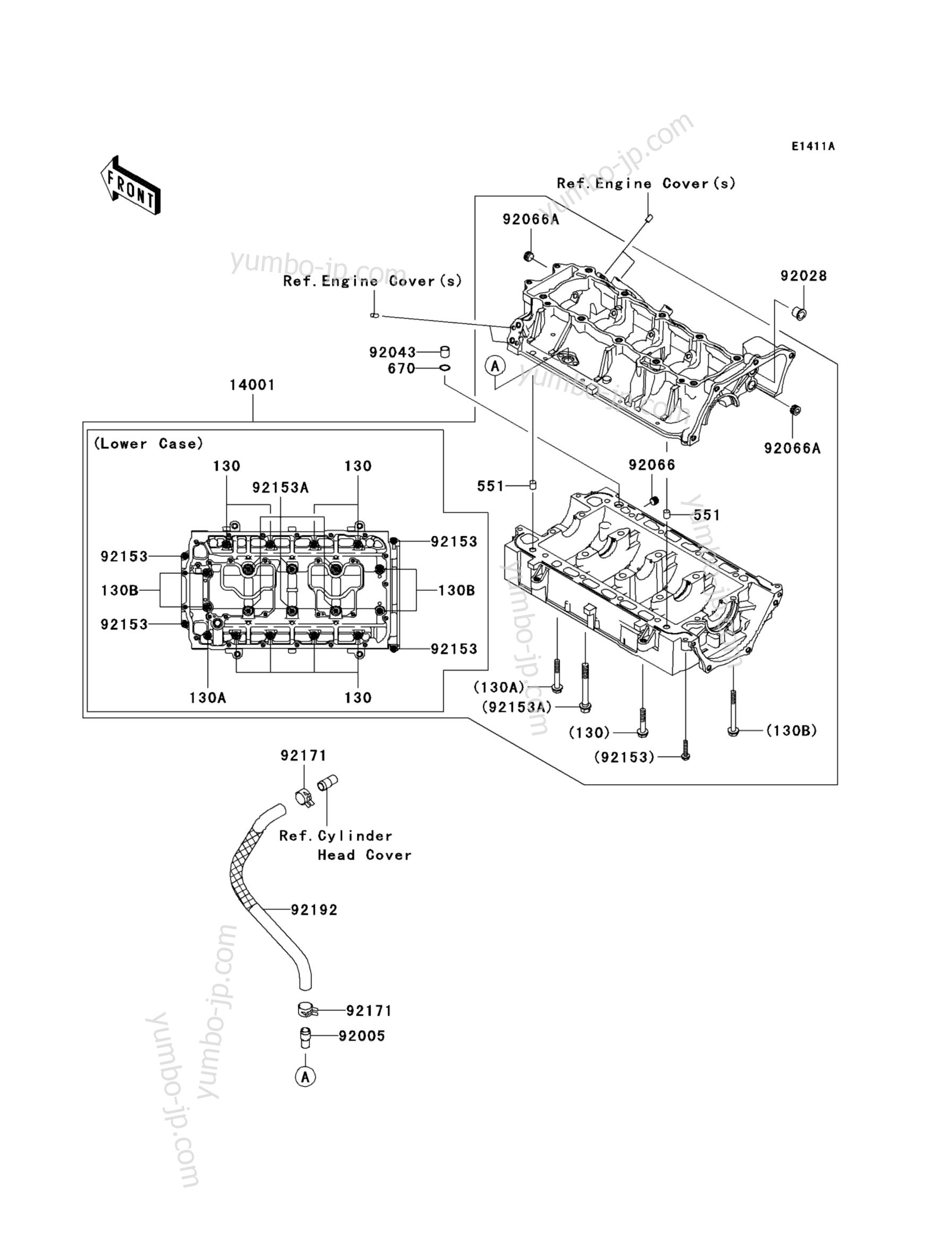 Crankcase(A9F/AAF) для гидроциклов KAWASAKI JET SKI STX-15F (JT1500A9F) 2009 г.