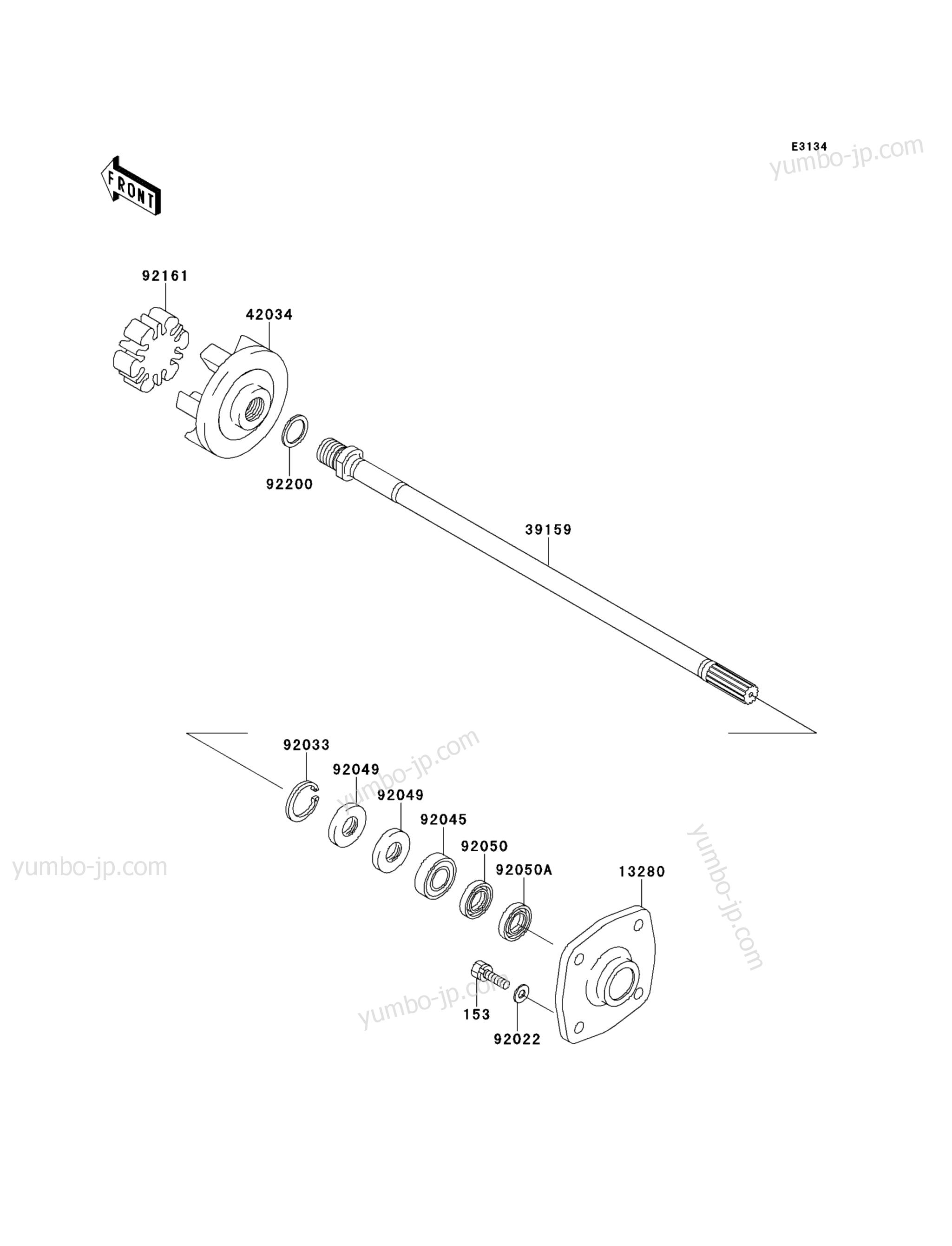 DRIVE SHAFT для гидроциклов KAWASAKI JET SKI STX-15F (JT1500ADF) 2013 г.