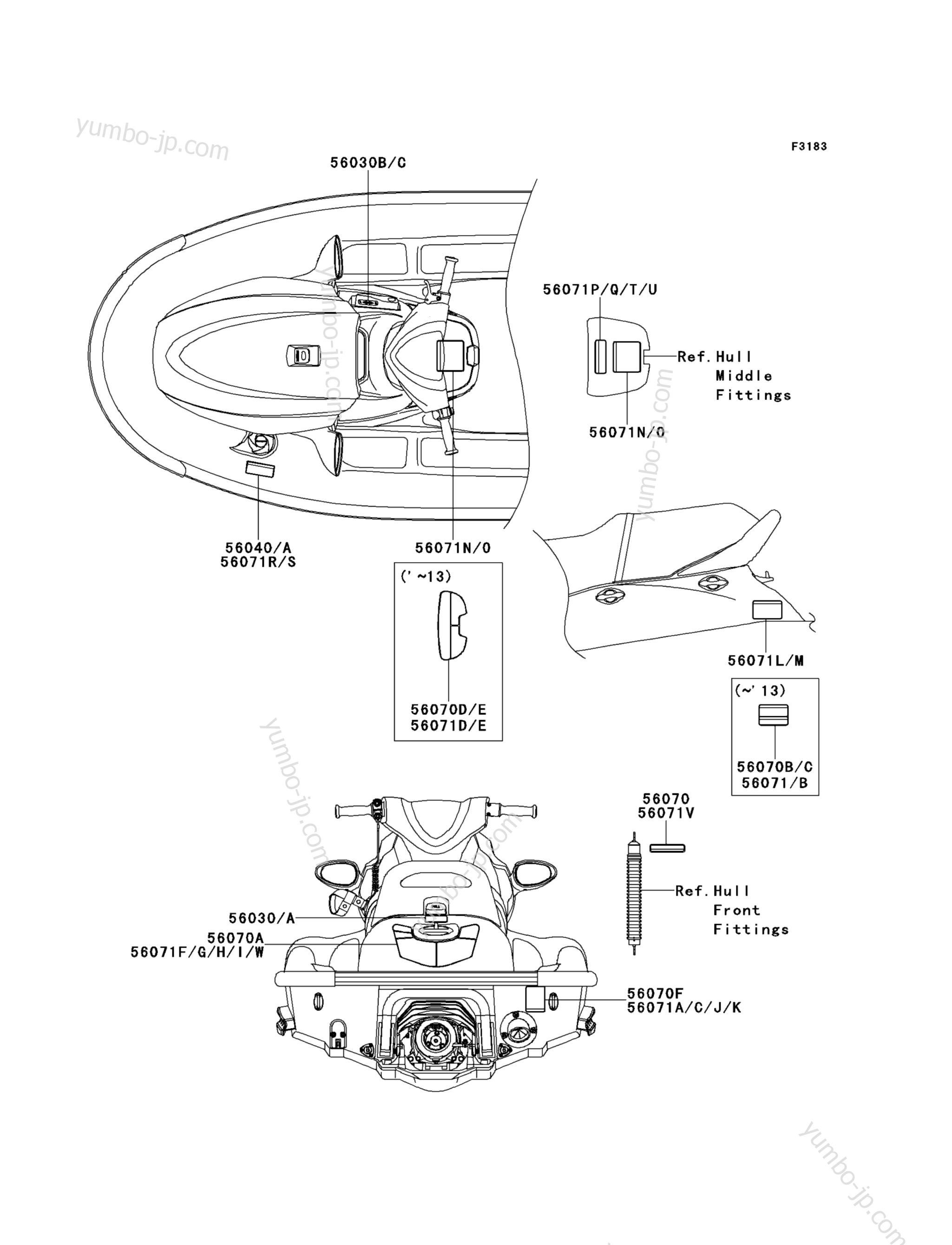 Эмблемы, наклейки для гидроциклов KAWASAKI JET SKI STX-15F (JT1500AFF) 2015 г.
